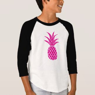 Bright Pink Pineapple Kids 3/4 Sleeve T-Shirt
