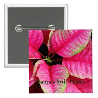 Bright Pink Poinsettia Button