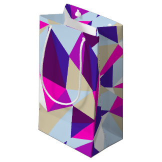 Bright pink purple crazy triangles small gift bag