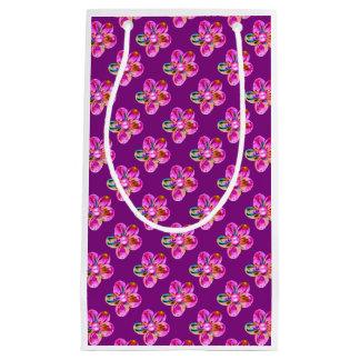 Bright pink, purple hand sewn flowers on violet small gift bag