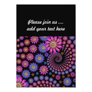 Bright Pink Purple Orange Flowers on Black 13 Cm X 18 Cm Invitation Card