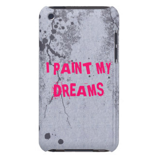 Bright pink quote on paint splatter iPod case
