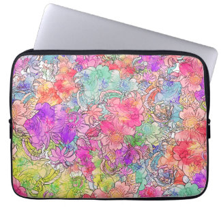Bright Pink Red Watercolor Floral Drawing Sketch Laptop Sleeve