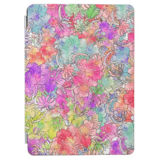 Bright Pink Red Watercolor Floral Illustration iPad Air Cover