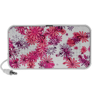 Bright pink retro flower power daisy spring garden travel speaker