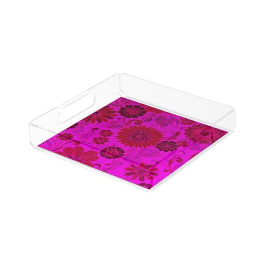 Bright Pink Retro Flowers Perfume tray