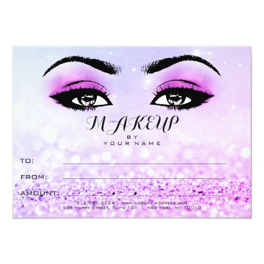 Bright Pink Rose Glitter Makeup Certificate Gift Card