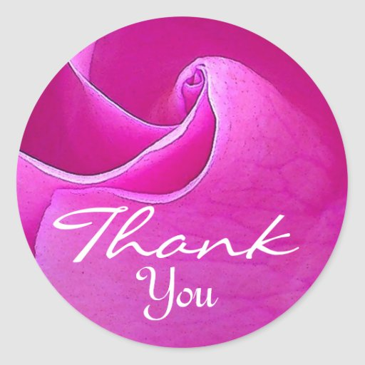 BRIGHT PINK Rose - Thank You Envelope Seal Round Stickers
