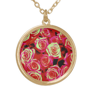 Bright pink roses pendant