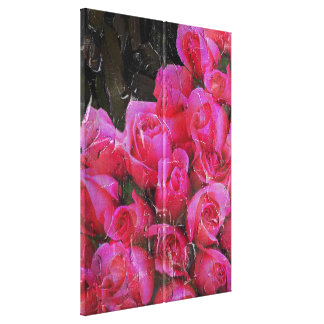 Bright Pink Roses Painted Canvas Print