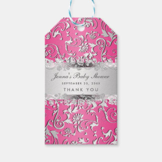 Bright Pink Silver Flourish Floral Baby Shower Gift Tags