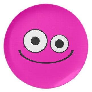 Bright Pink Smiley Plate