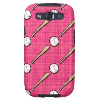 Bright Pink Softball Sports Pattern Samsung Galaxy S3 Cases