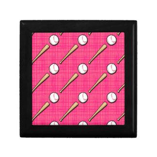 Bright Pink Softball Sports Pattern Keepsake Boxes