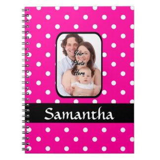 Bright pink spoty pattern photo template notebook