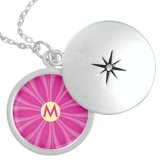 Bright Pink Sunburst or Flower with Initial Locket Necklace