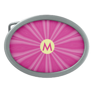 Bright Pink Sunburst or Flower with Initial Oval Belt Buckles