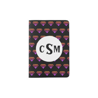 Bright Pink to Yellow Diamonds with Monogram Passport Holder