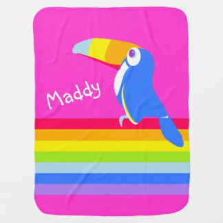Bright pink toucan bird rainbow name blanket