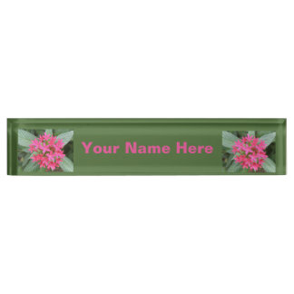 Bright Pink Tropical Flowers Custom Desk Plate