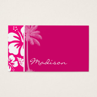 Bright Pink Tropical Hibiscus Business Card