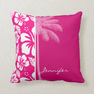 Bright Pink Tropical Hibiscus Cushion