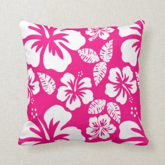 Bright Pink Tropical Hibiscus Flowers Cushion