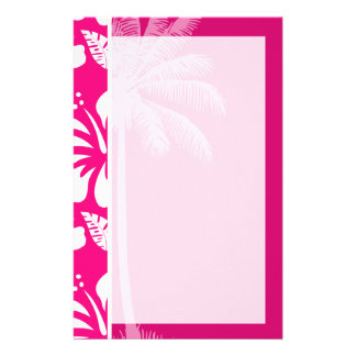 Bright Pink Tropical Hibiscus Stationery Design