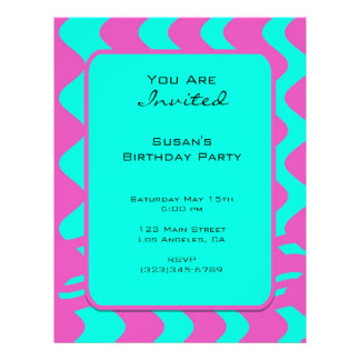bright pink tuquoise party custom flyer