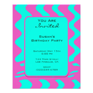 bright pink tuquoise party flyer