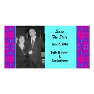 Bright pink turquoise pattern Wedding Photo Greeting Card