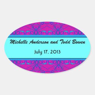 Bright pink turquoise pattern Wedding Sticker