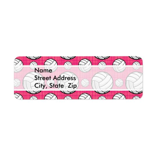 Bright Pink Volleyball Pattern Return Address Label
