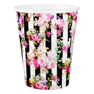 Bright pink watercolor roses black white stripe paper cup