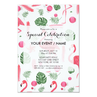 Bright pink watercolor tropical flamingo floral card