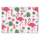Bright pink watercolor tropical flamingo floral card