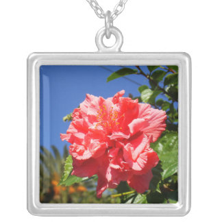 Bright Pink Wildflower Square Pendant Necklace