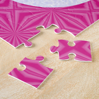 Bright Pink Zig Zag Cross on White and Hot Pink Jigsaw Puzzle