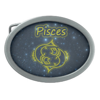 Bright Pisces Oval Belt Buckle