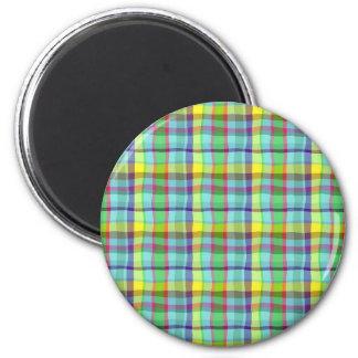 Bright Plaid 6 Cm Round Magnet