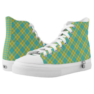 Bright Plaid Pattern, Green, Sky Blue, Yellow High Tops