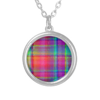 Bright Plaid Silver Plated Necklace