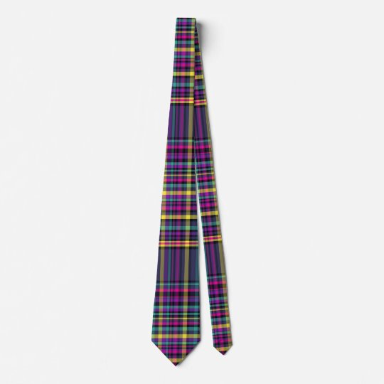 Bright plaid tie for Christmas holidays