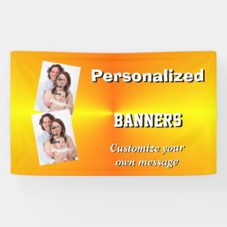 Bright plain yellow photo template banner