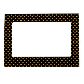 Bright Polka Dot Pattern Picture Frame Magnet