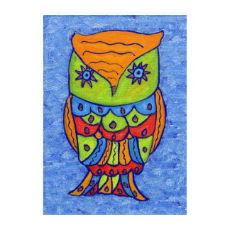 Bright Pop Art Whimsical Colorful Owl on Blue