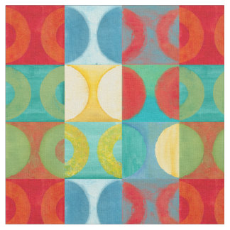 Bright Pop Art with Circles and Squares Fabric