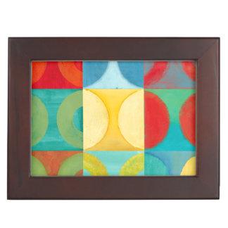 Bright Pop Art with Circles and Squares Keepsake Box