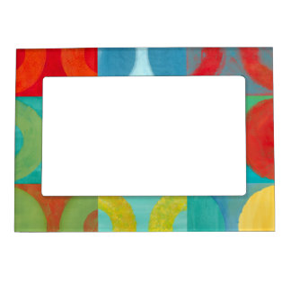 Bright Pop Art with Circles and Squares Magnetic Picture Frame
