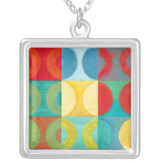 Bright Pop Art with Circles and Squares Silver Plated Necklace